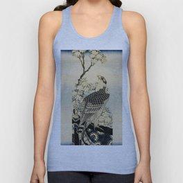 Hokusai -falcon next to a plum tree in bloom - 葛飾 北斎,hawk,bird. Unisex Tank Top