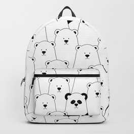 Polar bear and panda cartoon Backpack