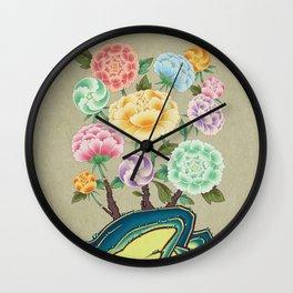 Minhwa: Peony Flowers and Rock Type A  (Korean traditional/folk art) Wall Clock