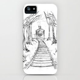 Wooden Railway , Pencil illustration iPhone Case