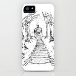 Wooden Railway , Pencil illustration iPhone Case