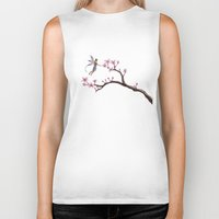 cherry blossom Biker Tanks featuring Cherry Blossom by Elisa Camera