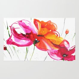 Abstract flower colorful painting Rug