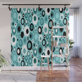 Turquoise Mid Century Geometric Ovals with Black and White Wall Mural