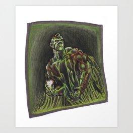 Swamp Thing on a lunch break Art Print