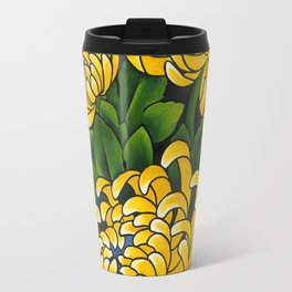Japanese tattoo style sumi ink wash and watercolor chrysanthemum   Travel Mug