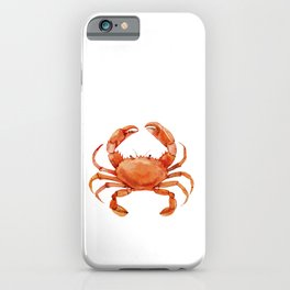 Watercolor Red Crab on White Minimalist Coastal Art - Treasures of the Sea Collection iPhone Case