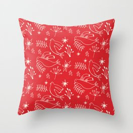 Christmas Dove Red Throw Pillow