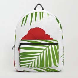 Red hibiscus and palm leaves seamless pattern. Backpack