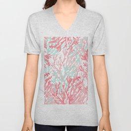 Modern hand painted coral pink teal reef coral floral Unisex V-Neck