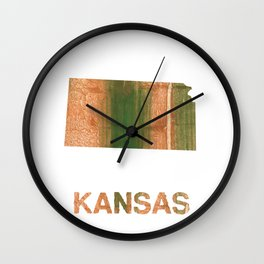 Kansas map outline Peru green streaked wash drawing illustration Wall Clock
