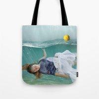 mermaid Tote Bags featuring Mermaid  by Mary Kilbreath