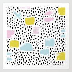 Pastel spots and dots Art Print