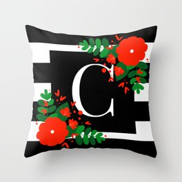 C - Initial on Black and White with Red Flowers Throw Pillow
