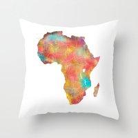 africa Throw Pillows featuring Africa by jbjart
