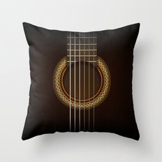 Full Guitar Black Throw Pillow