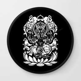 Tribal Ganesh (white) Wall Clock