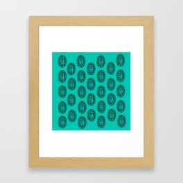 Ancient Egyptian Amulet Pattern Turquoise Blue Framed Art Print