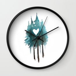 Forest Love - heart cutout watercolor artwork Wall Clock