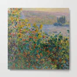 "Claude Monet ""Flower Beds at Vétheuil"" Metal Print"
