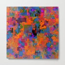 psychedelic geometric square pattern abstract background in orange blue red Metal Print