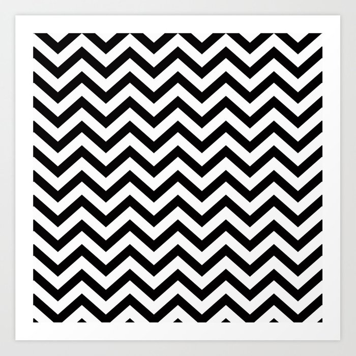 Simple Chevron Pattern - Black & White - Mix & Match with Simplicity Kunstdrucke