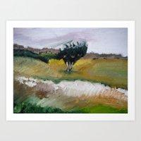 Tree along path to beach Art Print
