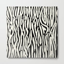 Zebra Stripes Tribal Black and Cream Metal Print