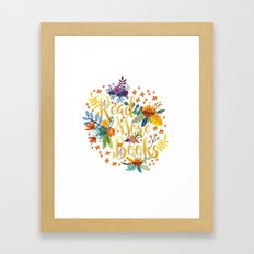 Read More Books - Floral Gold Framed Art Print