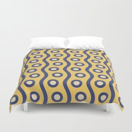 Mid Century Modern Rising Bubbles Pattern Blue and Yellow Duvet Cover