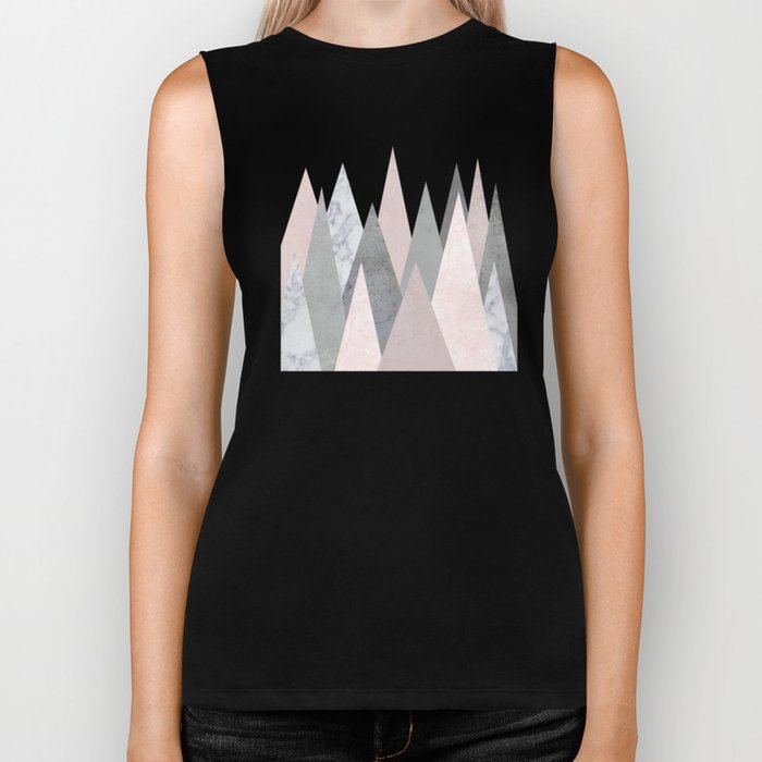 BLUSH MARBLE GRAY GEOMETRIC MOUNTAINS Biker Tank