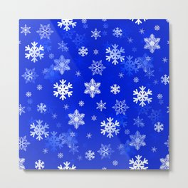 Light Blue Snowflakes Metal Print