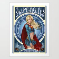 supergirl Art Prints featuring Supergirl  by Ryan Chan