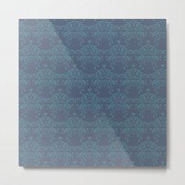 Vintage teal blue elegant floral damask Metal Print