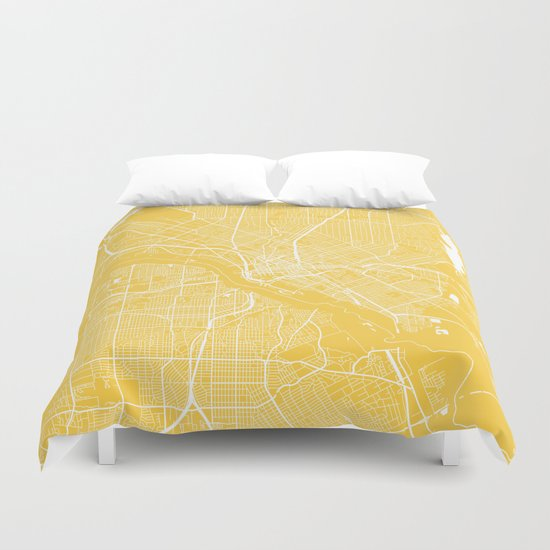 Dallas map yellow Duvet Cover