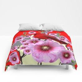 MODERN  RED ART PINK HOLLYHOCKS & RED CARDINAL BIRD Comforters