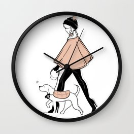 Winter Walk with my Pup Fashion Illustration Wall Clock