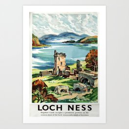 Loch Ness Vintage Travel Poster Art Print