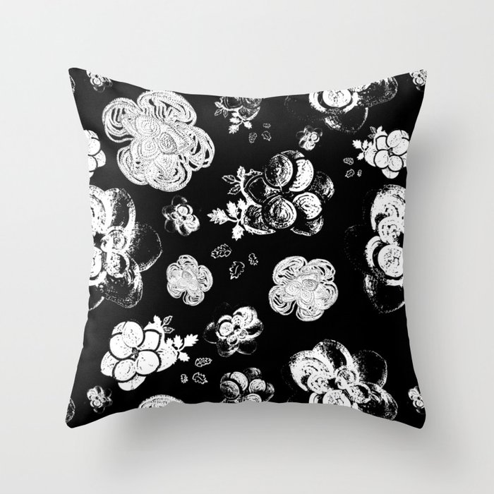 Black and White beaded flower print by Annalee Beer Throw Pillow