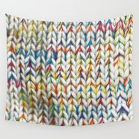 knit Wall Tapestries featuring Knit Pattern  by Manuela Mishkova