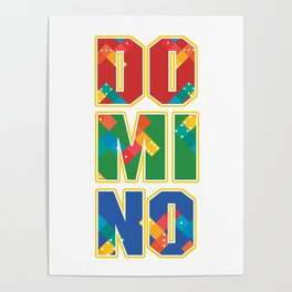 Domino Colorful Dominoes Tiles Puzzler Game Gift Poster