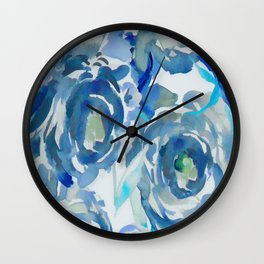 Sky Blue Painterly Floral Abstract Wall Clock