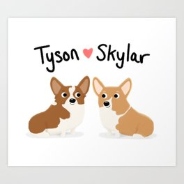 "Custom Cute Dog Art ""Tyson & Skylar"" Art Print"