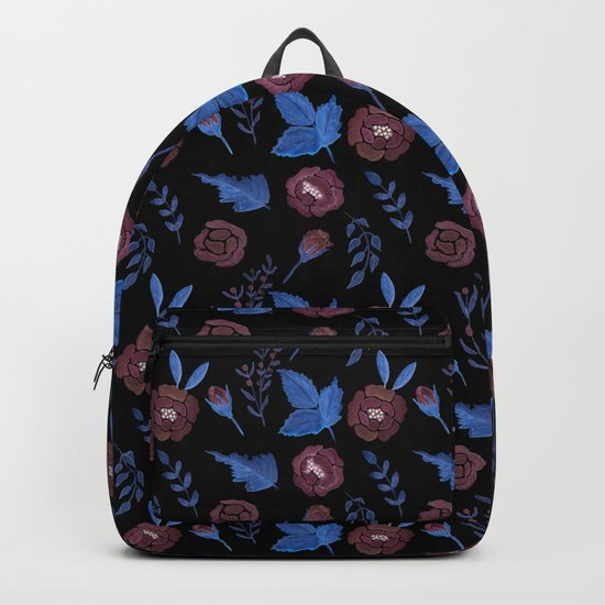 Watercolor floral red roses print on black Backpack