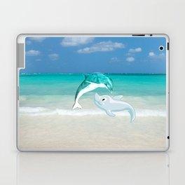 Tropical turquoise sand beach cute nautical animals Laptop & iPad Skin