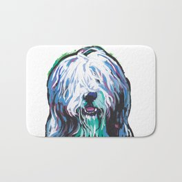 Fun Bearded Collie Dog Portrait bright colorful Pop Art Dog Painting by LEA Bath Mat