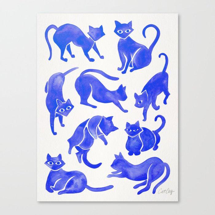 Cat Positions – Blue Palette Leinwanddruck