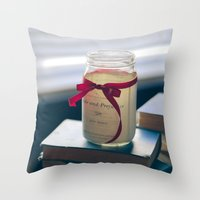 pride and prejudice Throw Pillows featuring Pride & Prejudice Mason Jar by {she tells stories}