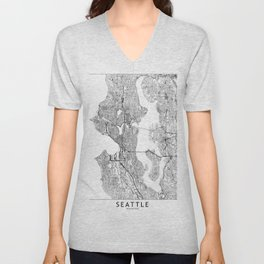 Seattle White Map Unisex V-Neck