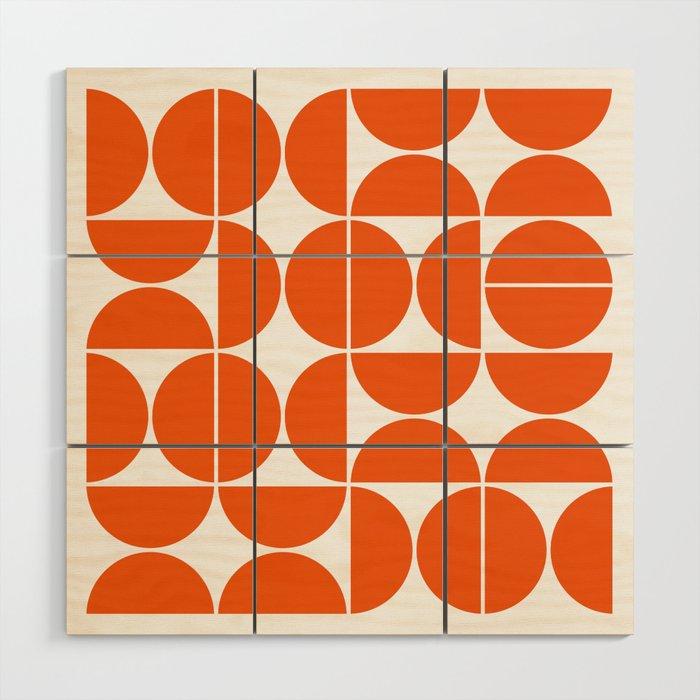 Mid Century Modern Geometric 04 Orange Wood Wall Art By Theoldartstudio